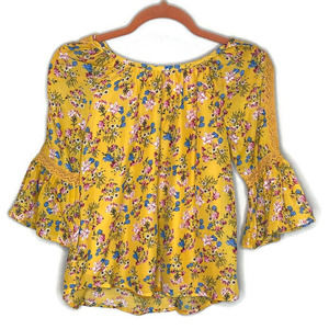 Knitworks girl's blouse top shirt yellow floral L